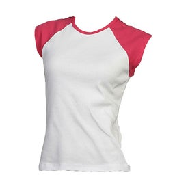 Bella Ladies' Rib Cap Sleeve Raglan T-shirt for Advertising
