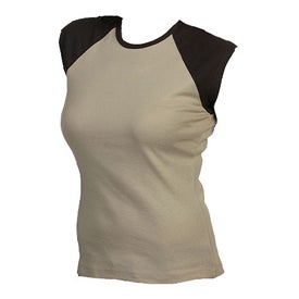Imprinted Bella Ladies' Rib Cap Sleeve Raglan T-shirt