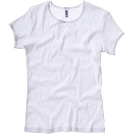 White Bella Ladies' 1x1 Rib Short Sleeve Crewneck
