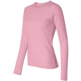 Branded Dark Bella Ladies' 1x1 Rib Long Sleeve T-Shirt
