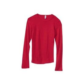 Imprinted Dark Bella Ladies' 1x1 Rib Long Sleeve T-Shirt