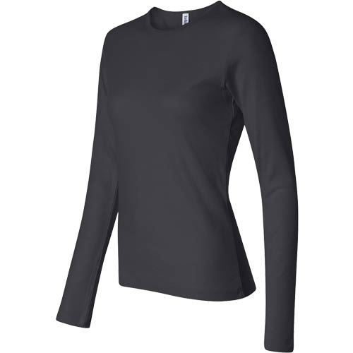 Dark Bella Ladies' 1x1 Rib Long Sleeve T-Shirt