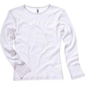 White Bella Ladies' 1x1 Rib Long Sleeve T-Shirt