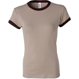Bella Ladies' Rib Short Sleeve Ringer T-shirt Imprinted with Your Logo