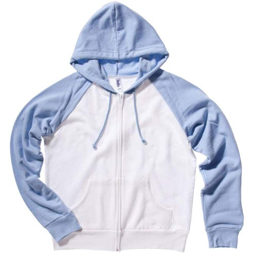 Custom Bella Ladies' Two-Tone Raglan Full-Zip Hooded Sweatshirt