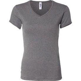 Dark Bella Ladies' 1x1 Rib Short Sleeve V-Neck T-shirt for Customization