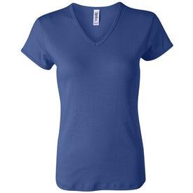 Customized Dark Bella Ladies' 1x1 Rib Short Sleeve V-Neck T-shirt