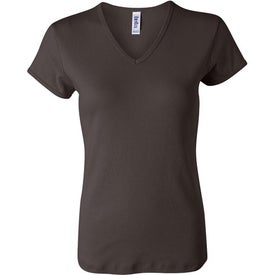 Dark Bella Ladies' 1x1 Rib Short Sleeve V-Neck T-shirt Printed with Your Logo