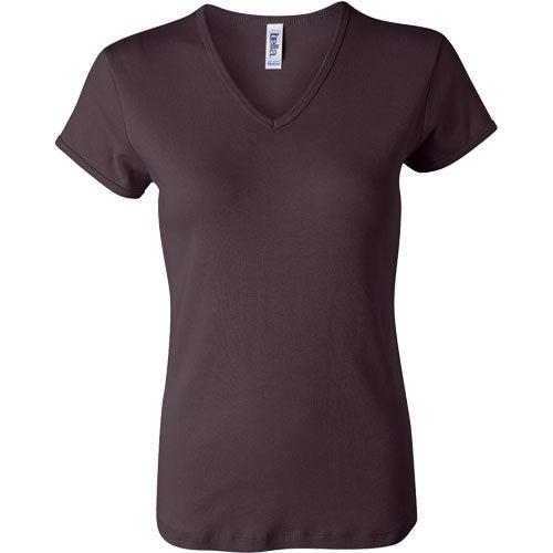 Dark bella ladies 39 1x1 rib short sleeve v neck t shirt for Ladies custom t shirts