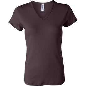 Custom Dark Bella Ladies' 1x1 Rib Short Sleeve V-Neck T-shirt