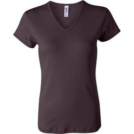 Custom Dark Bella Ladies' 1x1 Rib Short Sleeve V-Neck T-shirt