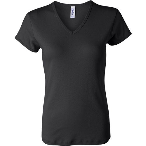 Promotional dark bella ladies 39 1x1 rib short sleeve v neck for Ladies custom t shirts