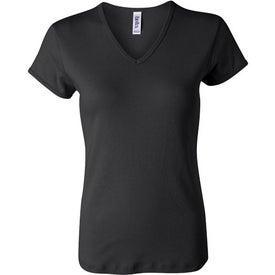 Dark Bella Ladies' 1x1 Rib Short Sleeve V-Neck T-shirt