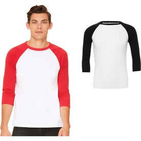 Bella+Canvas Baseball Sleeve T-Shirt (Men's, White/Red and White/Black)