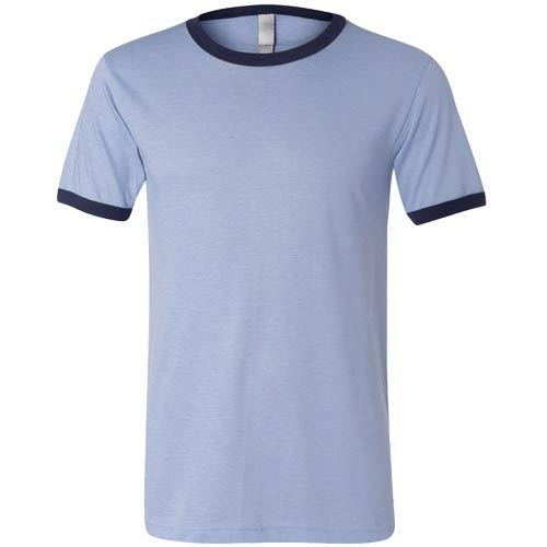 Heather Blue / Navy Canvas Brand Short Sleeve Ringer T-Shirt