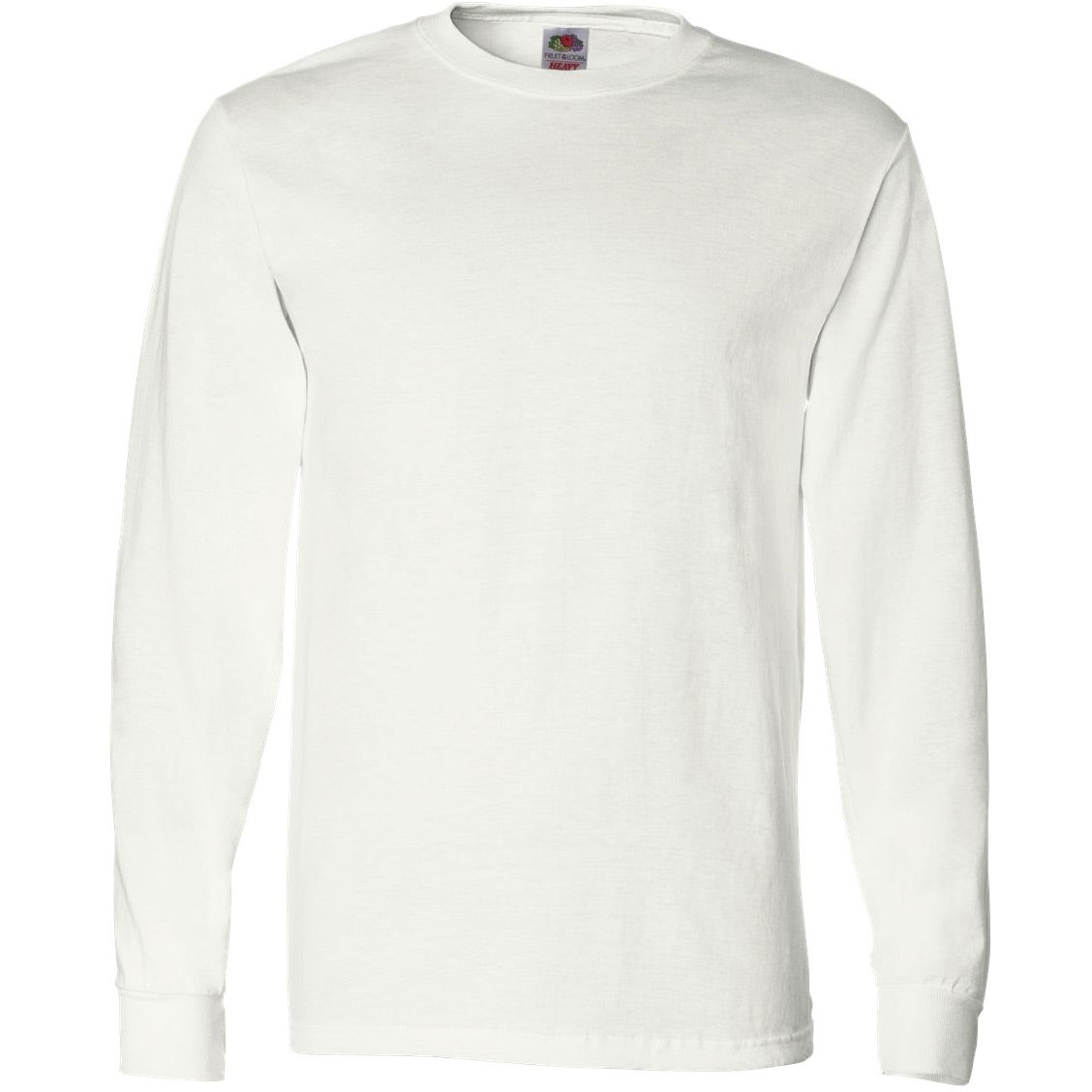 Fruit of the loom long sleeve cotton t shirt white for Good quality long sleeve t shirts