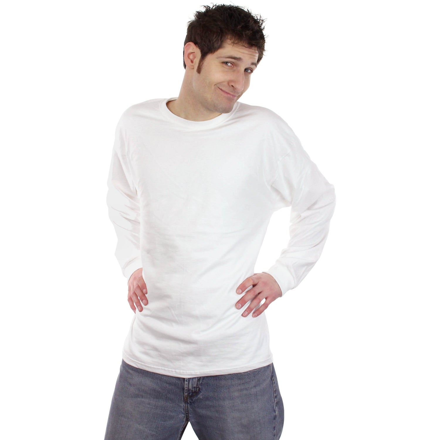 Fruit of the loom long sleeve cotton t shirt white for Long sleep shirts cotton