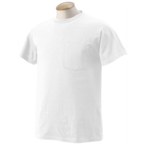 White fruit of the loom best 50 50 pocket t shirt custom for Custom 50 50 t shirts