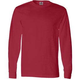 Logo Fruit of the Loom Long Sleeve Cotton T-Shirt