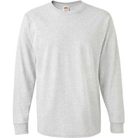 Branded Light Fruit of the Loom Long Sleeve 5.6 Oz. Cotton Shirt