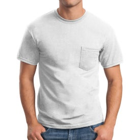 Gildan Dryblend 50 Cotton/50 Poly Pocket T-Shirt (Men's, White)