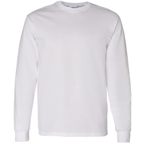 Promotional white gildan heavy cotton long sleeve t shirts for Custom t shirts gildan