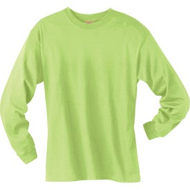 Dark Hanes Beefy-T 6.1 Oz. Ringspun Long Sleeve Printed with Your Logo