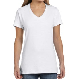 Hanes Nano-T Cotton V-Neck T-Shirts (Women''s, White)
