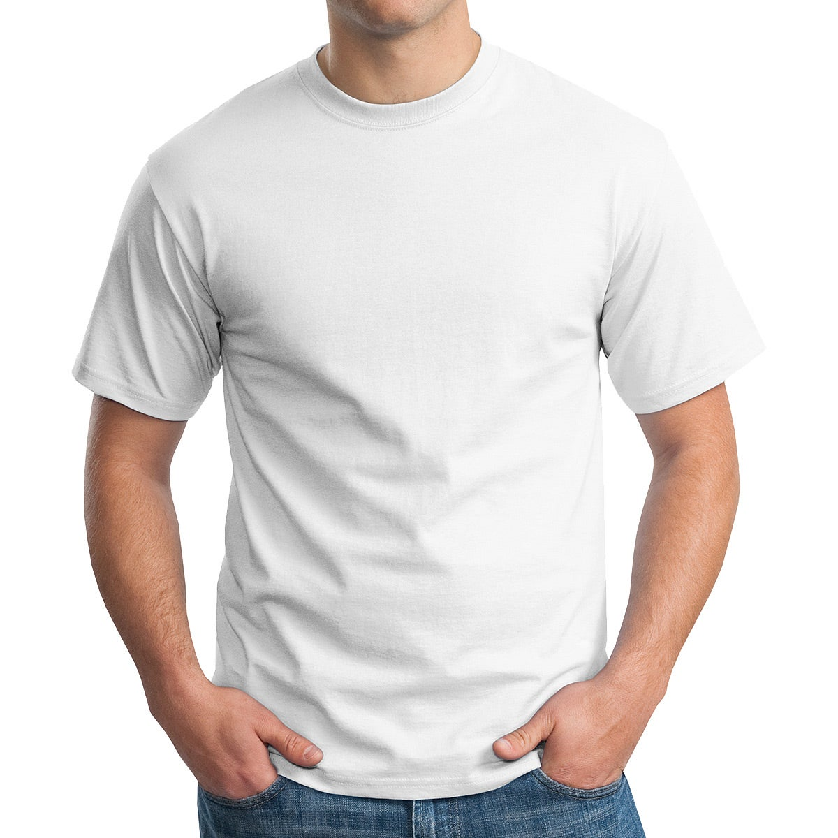 Hanes Tagless 100% Cotton T-Shirt (White)