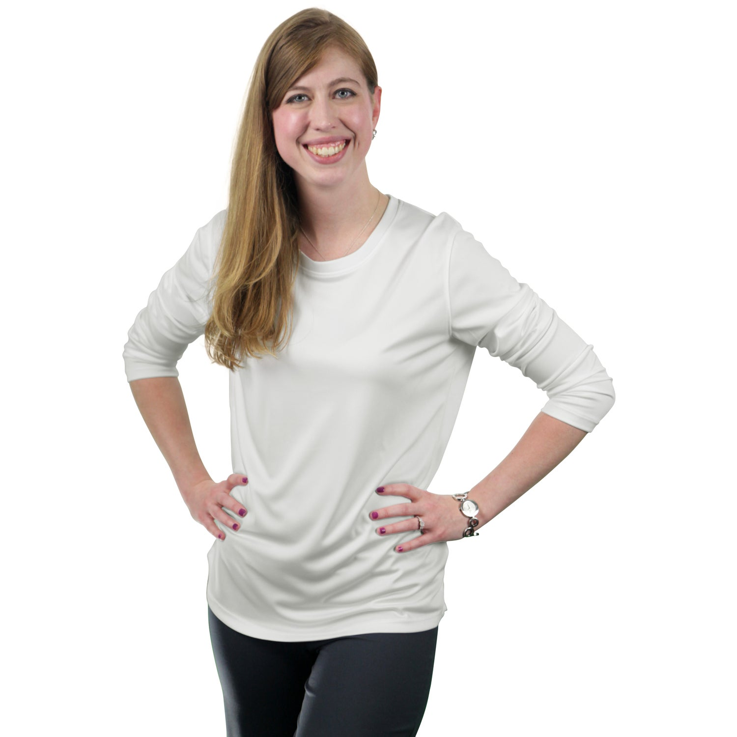 Parima long sleeve tech tee shirt by trimark women 39 s for Personalized long sleeve t shirts