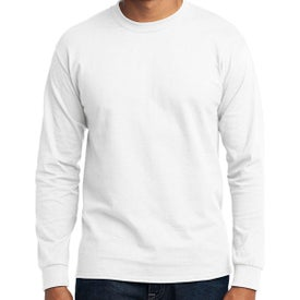 Port and Company Long Sleeve Core Blend Tee (Men's, White)