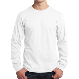 Port and Company Long Sleeve Core Cotton T-Shirt (White)