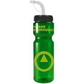 Branded Transparent Color Bottle with Straw Lid
