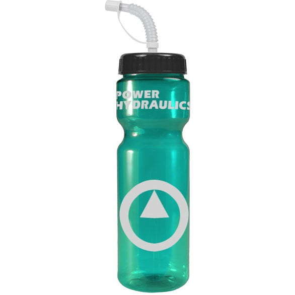 Transparent Teal Transparent Color Bottle with Straw Lid