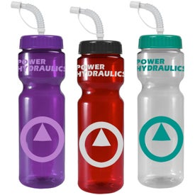 Printed Transparent Color Bottle with Straw Lid