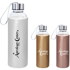 Aqua Pure Glass Bottle With Metallic Sleeve (18 Oz.)