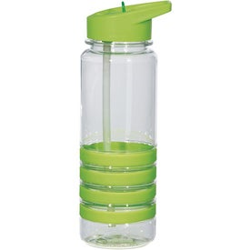 Monogrammed Banded Gripper Bottle With Straw
