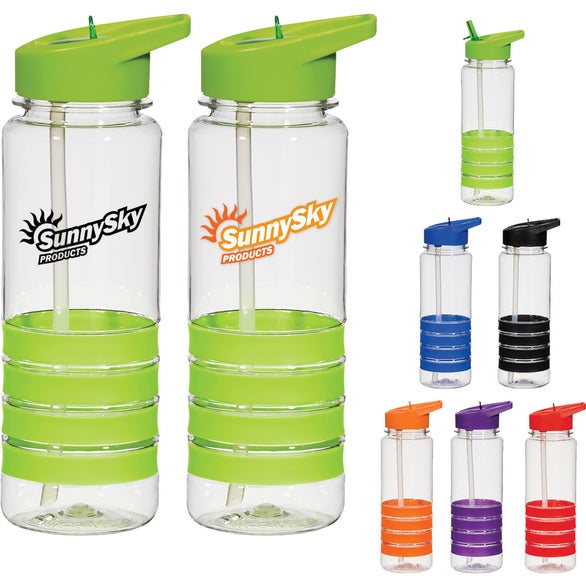 Banded Gripper Bottle With Straw