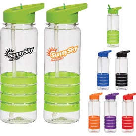 Banded Gripper Bottle With Straw Giveaways