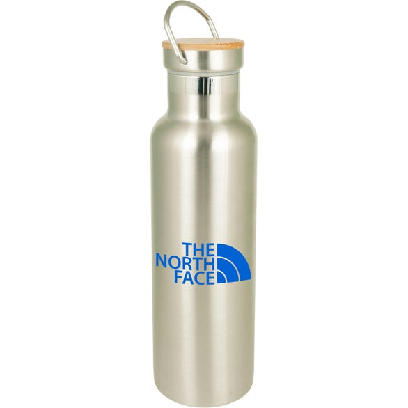 Silver Bedford Double Walled Stainless Water Bottle with Bamboo Lid