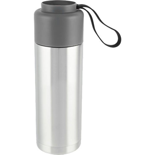 Silver / Black Capsule Double Wall Stainless Bottle