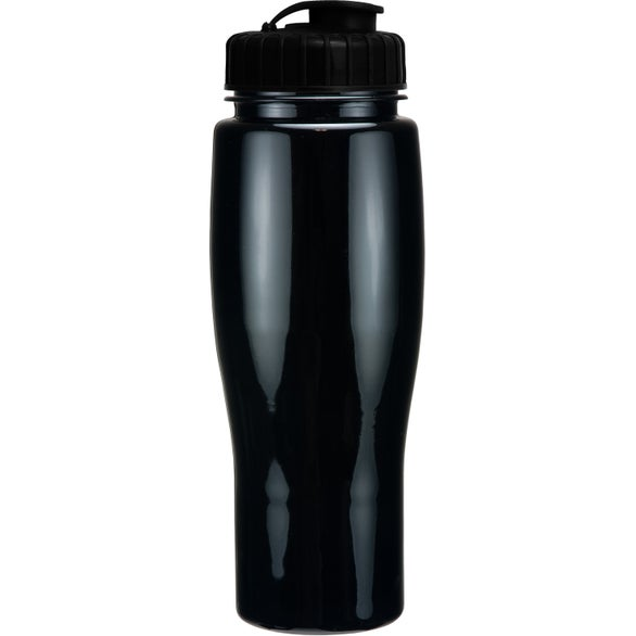 Black Opaque Contour Bottle with Flip Top Lid