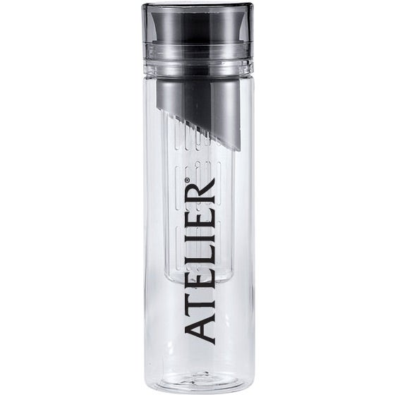 Clear / Black Del Monti Fruit Infuser Sports Bottle