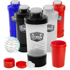 Dual Plastic Shaker Bottle with Mixer (16 Oz.)