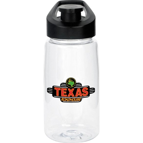 Clear / Black Easy Pour Fitness Bottle with Cooling Dry Cloth