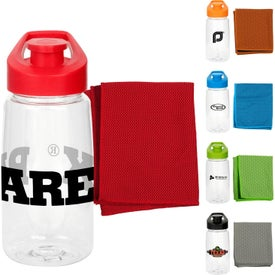 Easy Pour Fitness Bottles with Cooling Dry Cloth (18 Oz.)