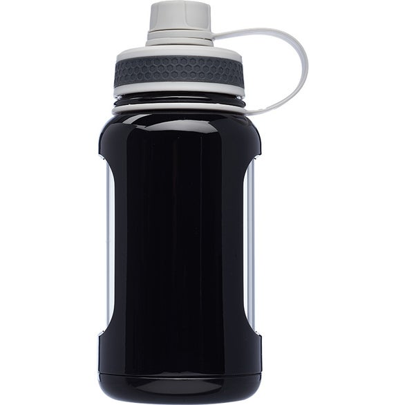 Black Exhibition Glass Water Bottle with Silicone Sleeve