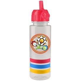 Customized Flip Straw Striped Tritan Bottle, Full Color