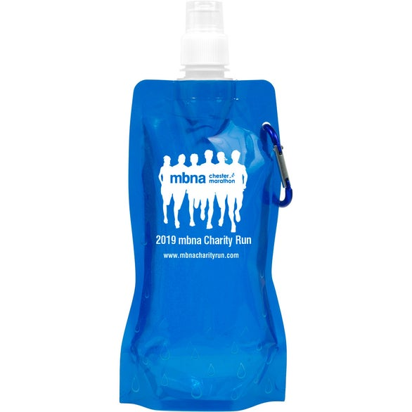 Blue Foldable Reusable Water Bottle with Carabiner