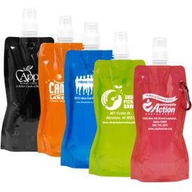 Foldable Reusable Water Bottle with Carabiner (18 Oz.)
